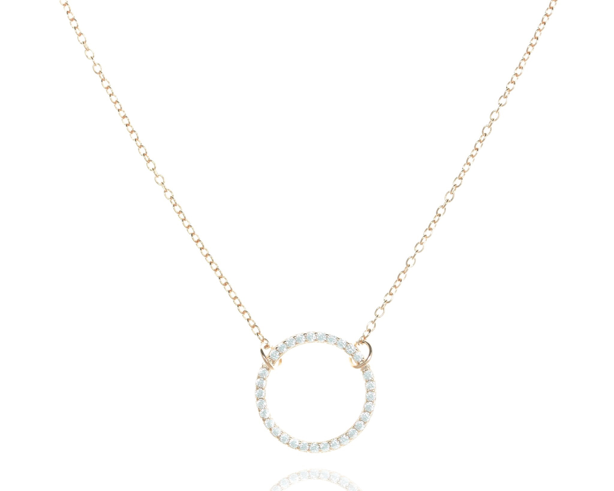 Necklace CZ Open Circle - Rose Gold Plate on Sterling Silver NJ-39/RG