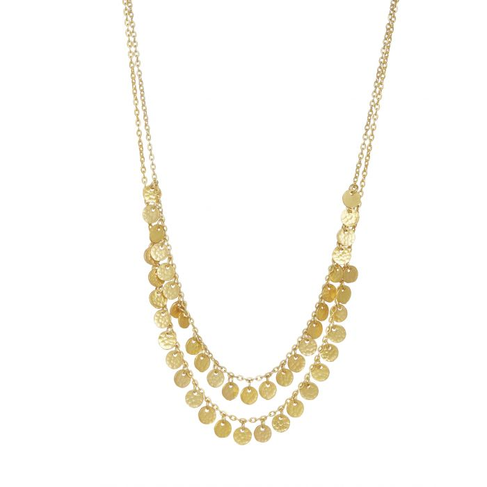 Ashiana Necklace - Two Row Boho Gold Plate