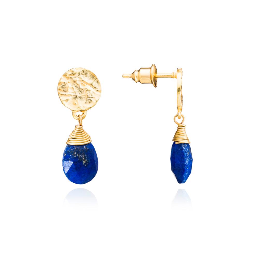 Azuni Earrings - Kate Drop Gold Plate Lapis