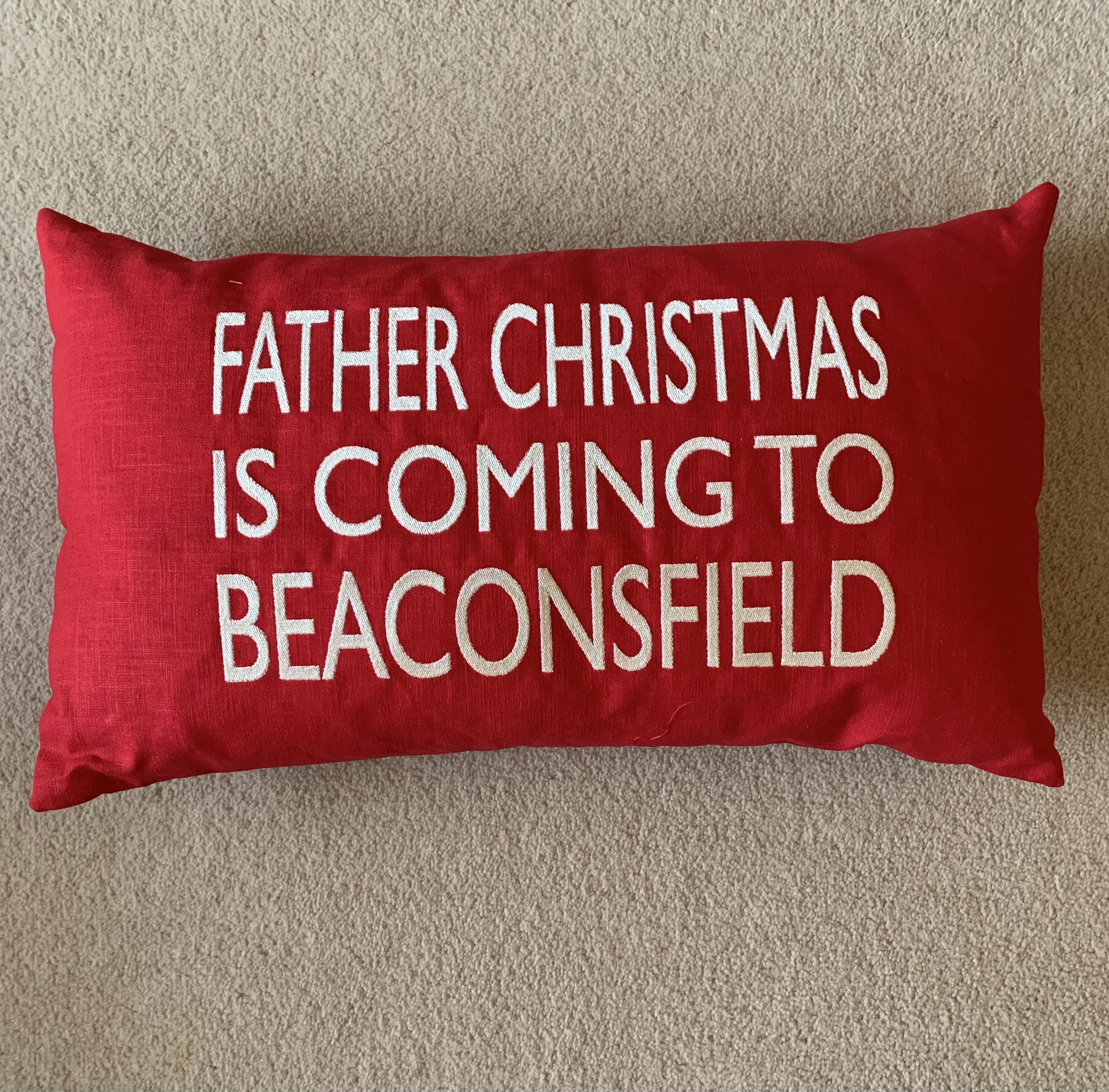 Beaconsfield Christmas Cushion Red Linen - Father Christmas is Coming to Beaconsfield