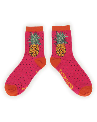 Powder Ankle Socks - Leopard Pineapple L