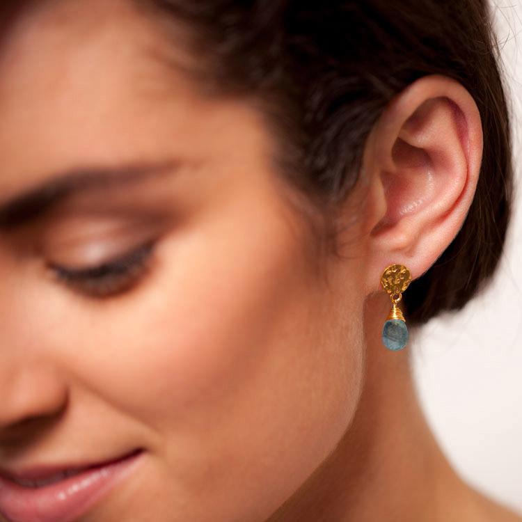 Azuni Earrings - Kate Drop Gold Plate Labradorite
