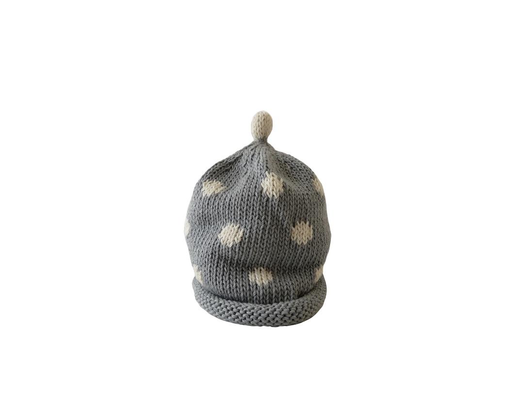 Baby Hat - Spotty Grey