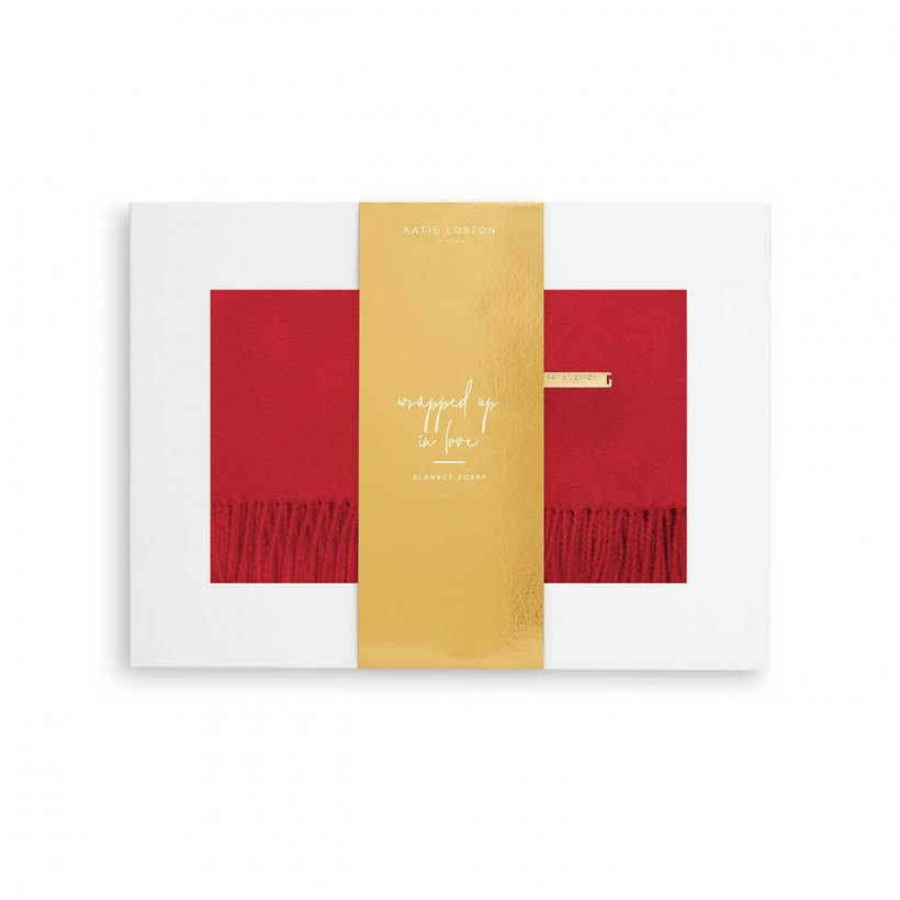 Katie Loxton Scarf - Wrapped Up in Love Thick Plain Red in Gift Box