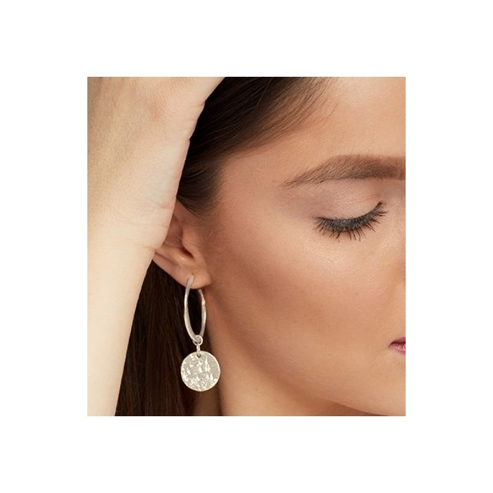 Ashiana Earrings - Esmeralda Hoop and Coin Silver Plated