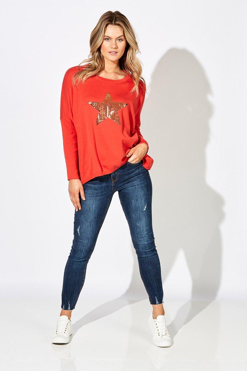 Eb&Ive Chalet Star Knit - Lava Orange WAS £55 NOW £39