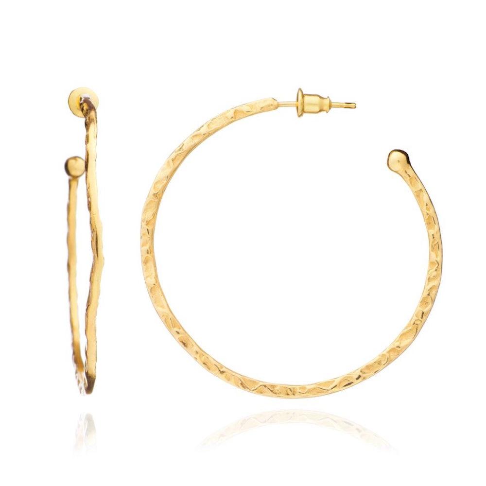 Azuni Earrings - Lydia Hoops Large Gold Plate