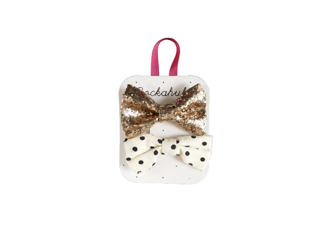 Rockahula Glitter & Spotty Bow Hair Clip (set of 2)