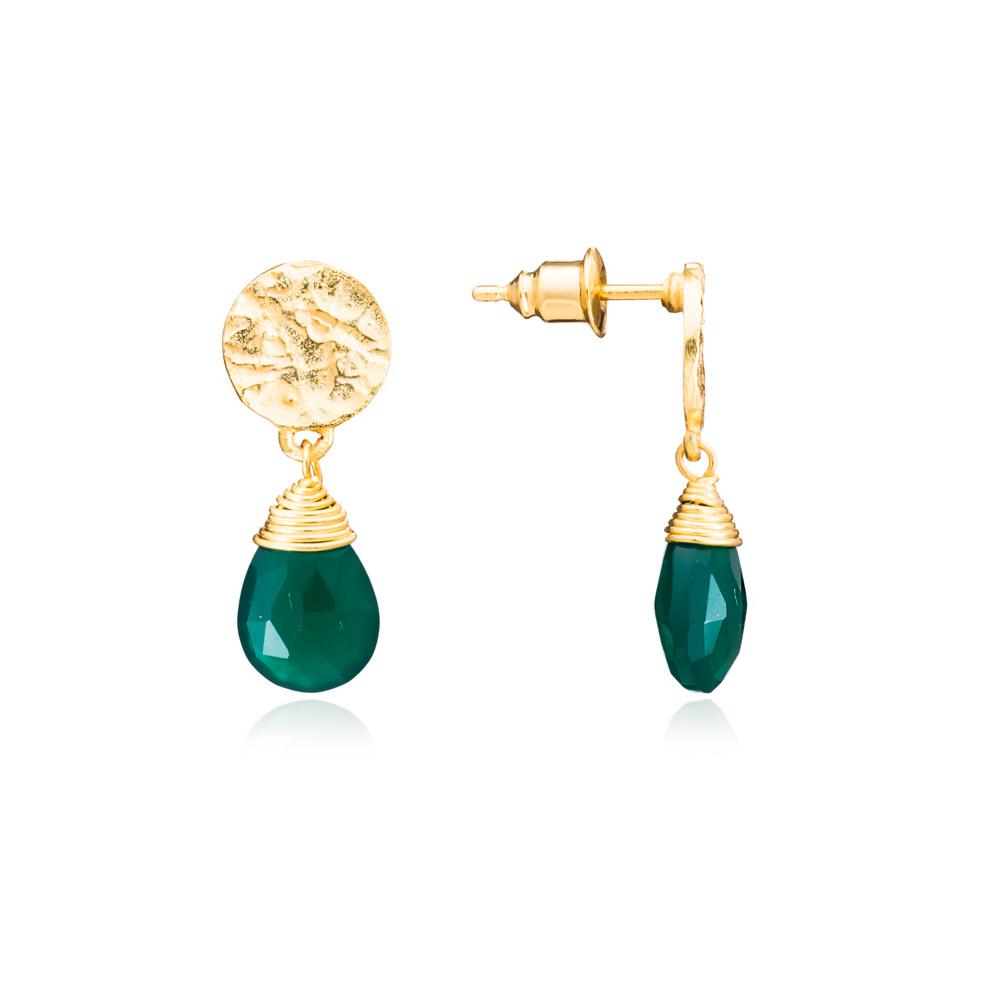 Azuni Earrings - Kate Drop Gold Plate Green Onyx
