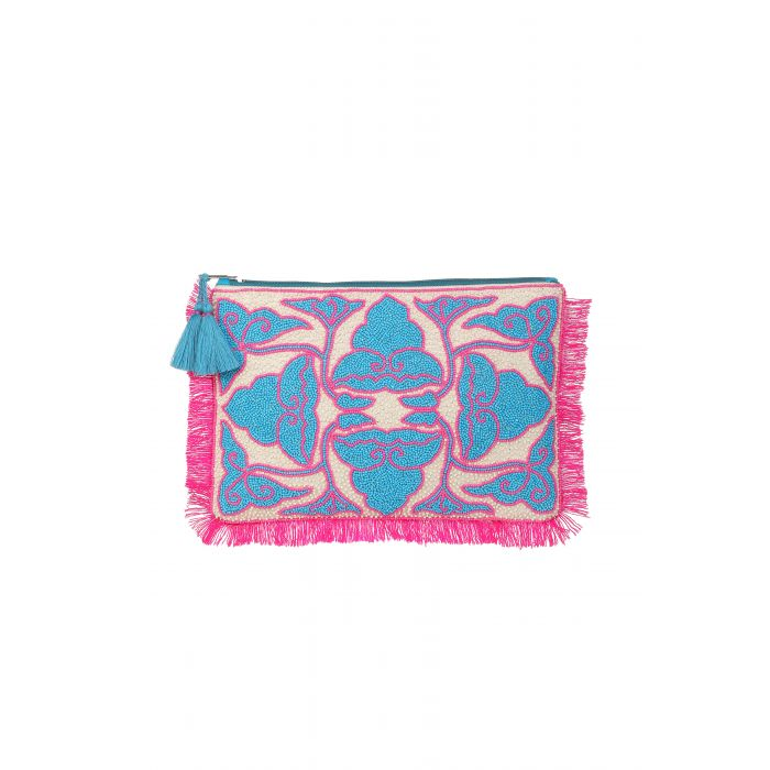 Ashiana Beaded Pouch - Udaipur Pink/Blue in two sizes
