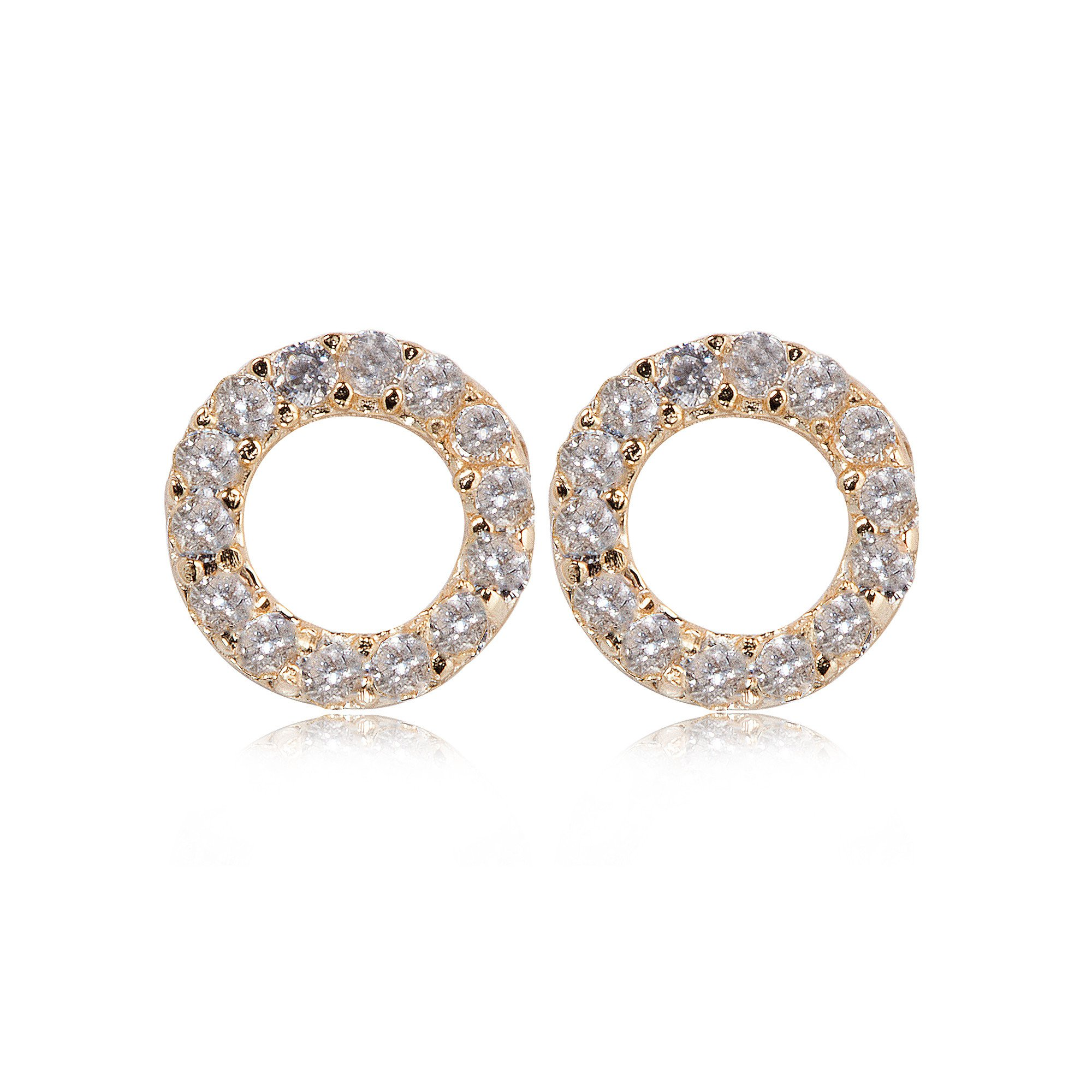 Stud Earrings Pave Open Circle CZ - Gold Plated on Sterling Silver EG-45/G