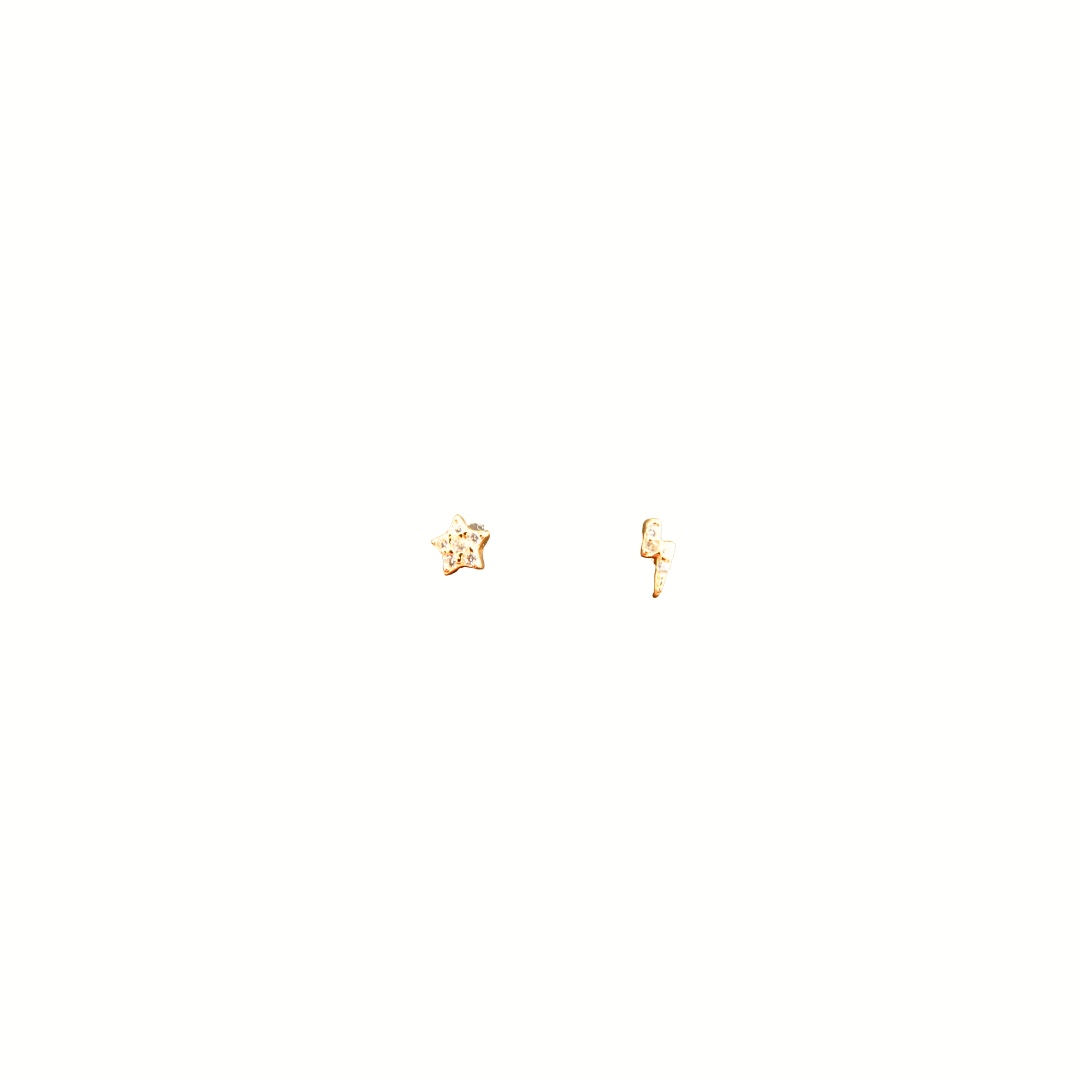 Stud Earrings Sparkly Star & Lightening - Rose Gold Plate on Sterling Silver EG-8/R