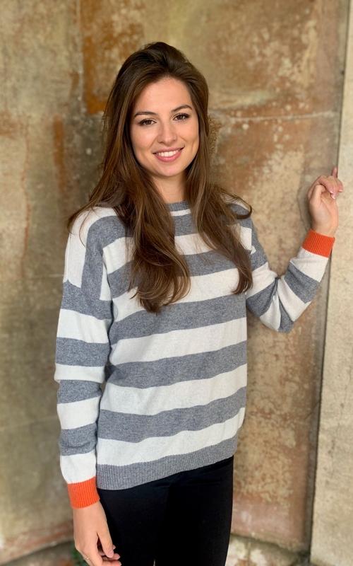 Luella Cashmere Mix Sweater - Reese Grey/Ivory/Orange