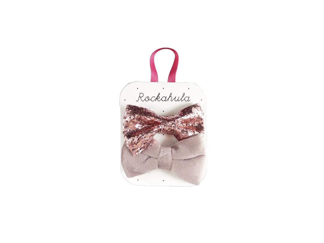 Rockahula Glitter & Velvet Hair clip (set of 2 /Dusky pink)