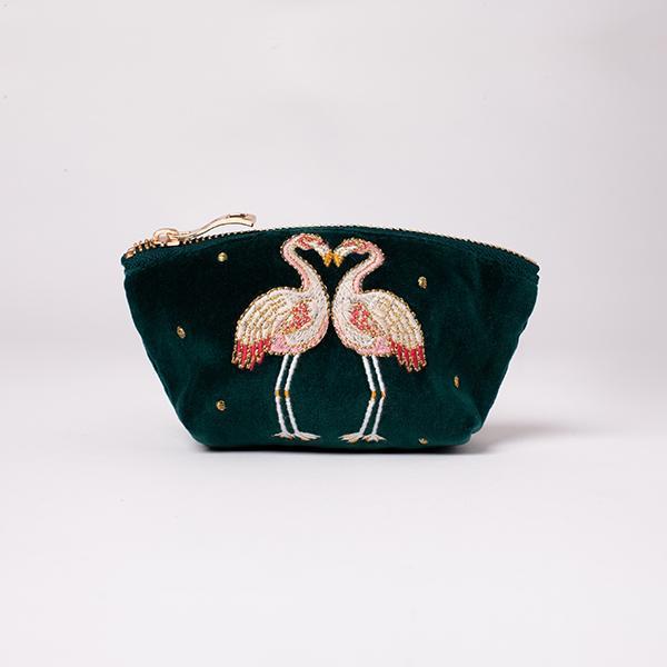Elizabeth Scarlett - Coin Purse Flamingo Jade Velvet