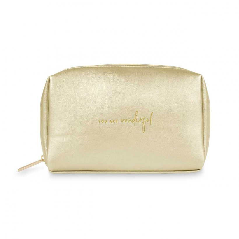 Katie Loxton Make Up Bag Small - 'You Are Wonderful' Gold Colour Pop