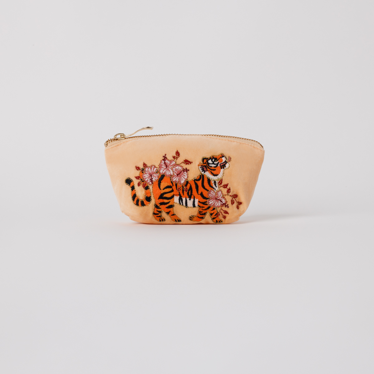 Elizabeth Scarlett - Coin Purse Tiger Apricot Velvet