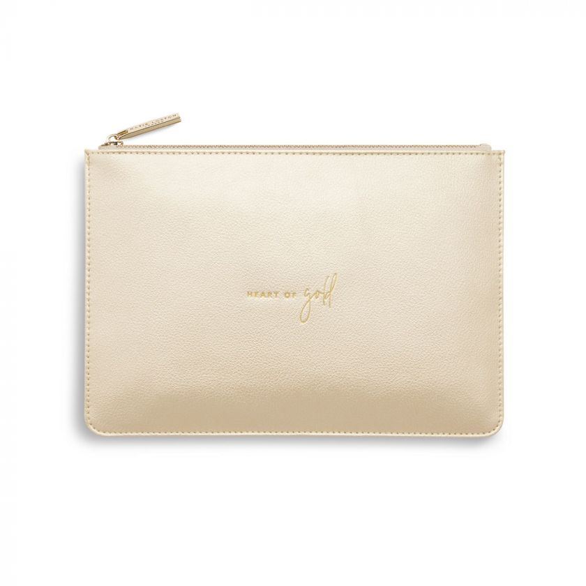 Katie Loxton Perfect Pouch - 'Heart of Gold' Metallic Champagne