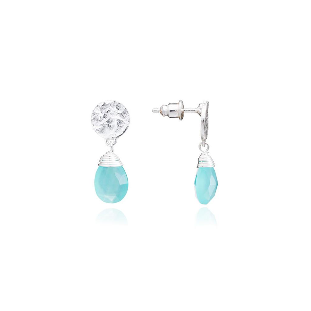 Azuni Earrings - Kate Drop Silver Plate Aqua Chalcedony