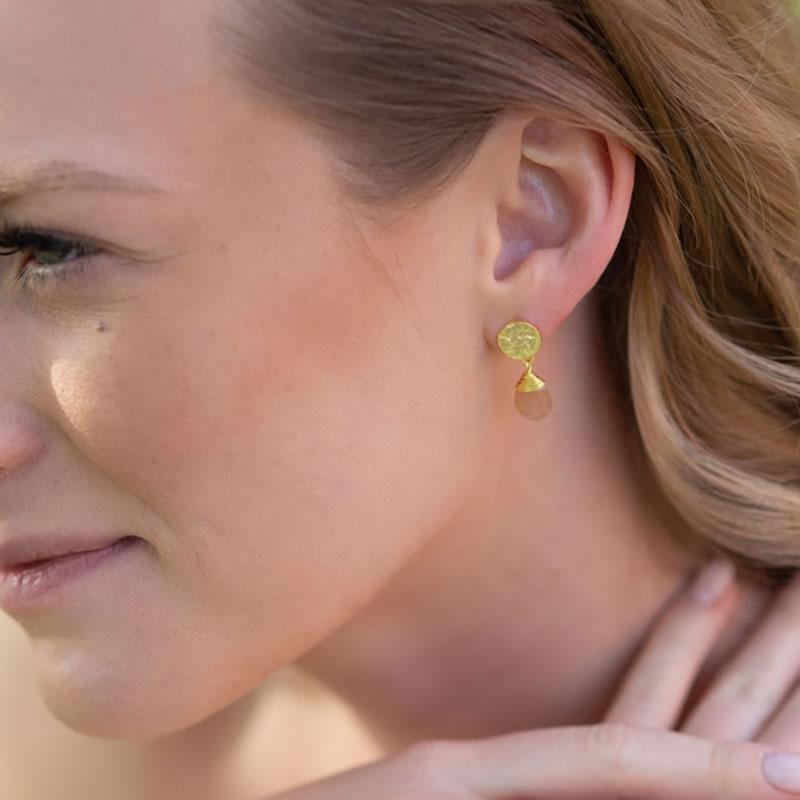 Azuni Earrings - Kate Drop Gold Plate Peach Moonstone