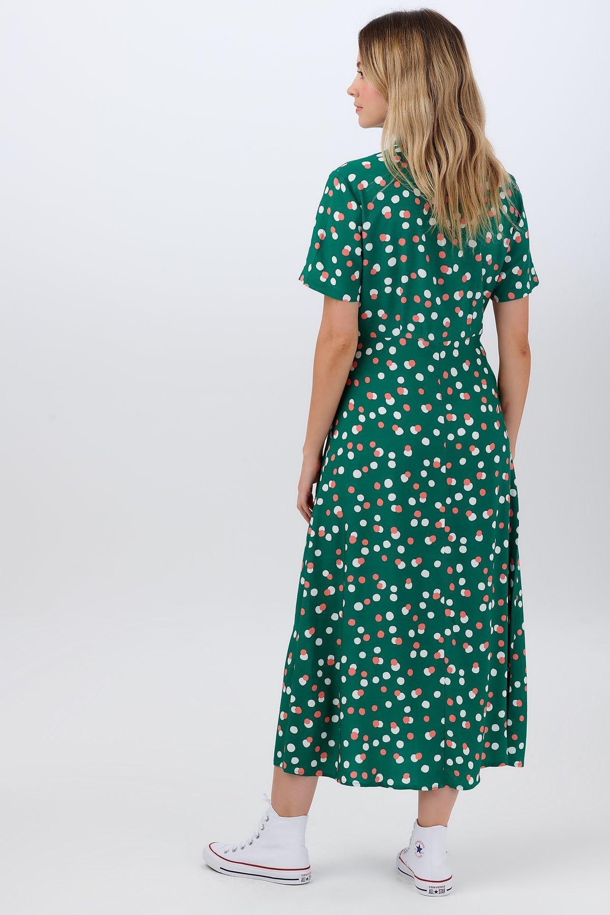Sugarhill Brighton - Danielle Shirt Dress Green Dappled Spot