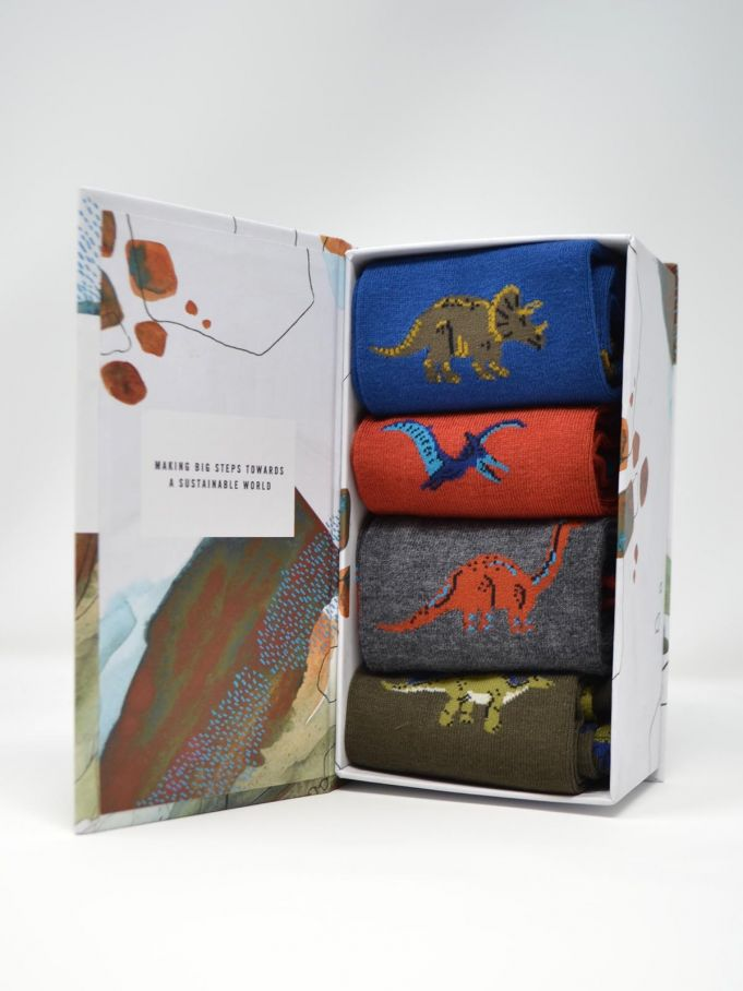 Mens Socks Thought - Gift Box Dinosaur