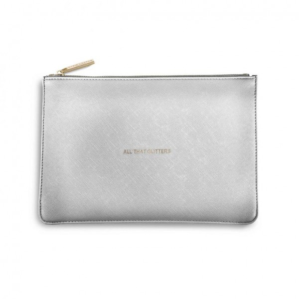 Katie Loxton Perfect Pouch - 'All That Glitters' Metallic Silver