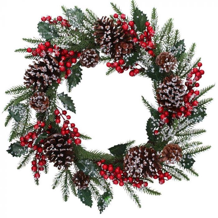 Gisela Graham Christmas Decoration Decor - Red & Green Berry and Cone  Wreath 40865
