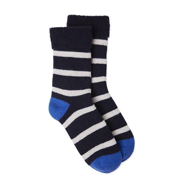 Somerville Slipper Socks - Breton Stripe Navy/White/Blue