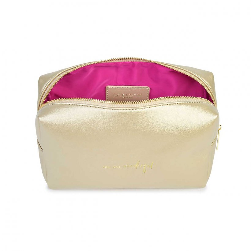 Katie Loxton Make Up Bag Large - 'You Are Wonderful' Gold Colour Pop