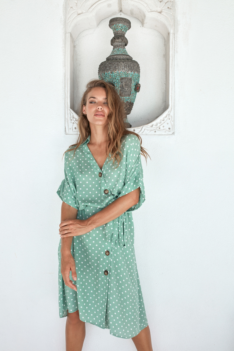Eb&Ive Zuma Shirt Dress in Palm One Size