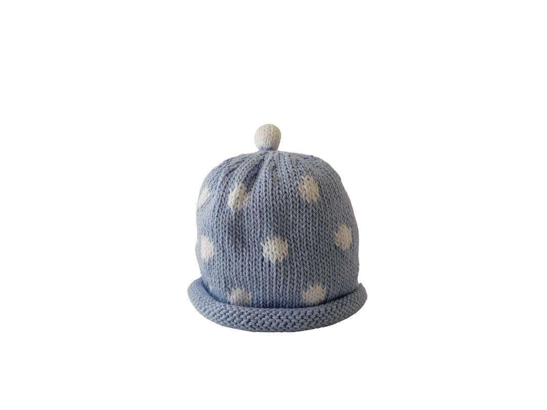 Baby Hat - Spotty Pale Blue
