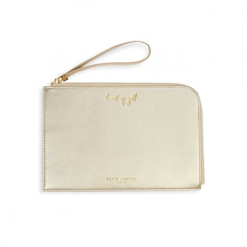 Katie Loxton Secret Message Pouch - Heart of Gold/ You Are Wonderful Gold WAS £22.99