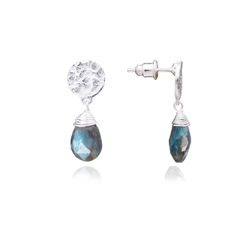 Azuni Earrings - Kate Drop Silver Plate Labradorite