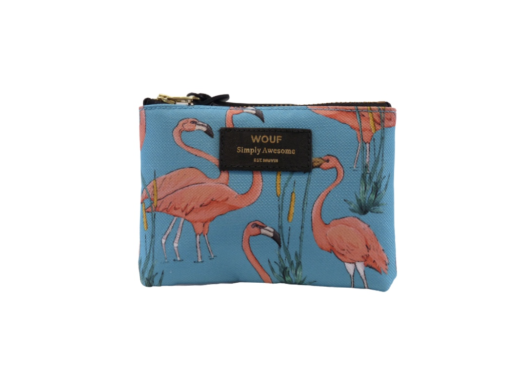 Wouf Pouch - Pink Flamingos Small