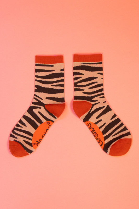 Powder Ankle Socks -Zebra Print