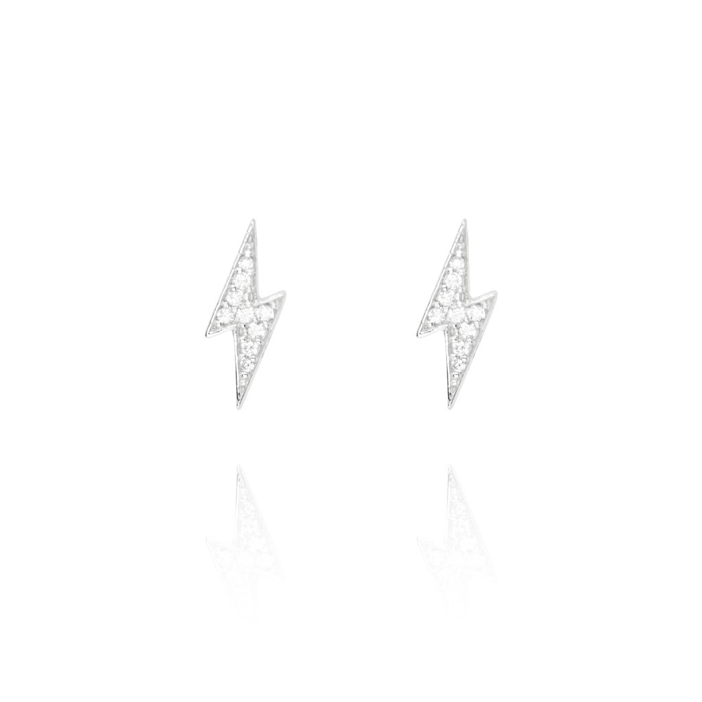 Stud Earrings Pave Lightening - Sterling Silver EG-14/S