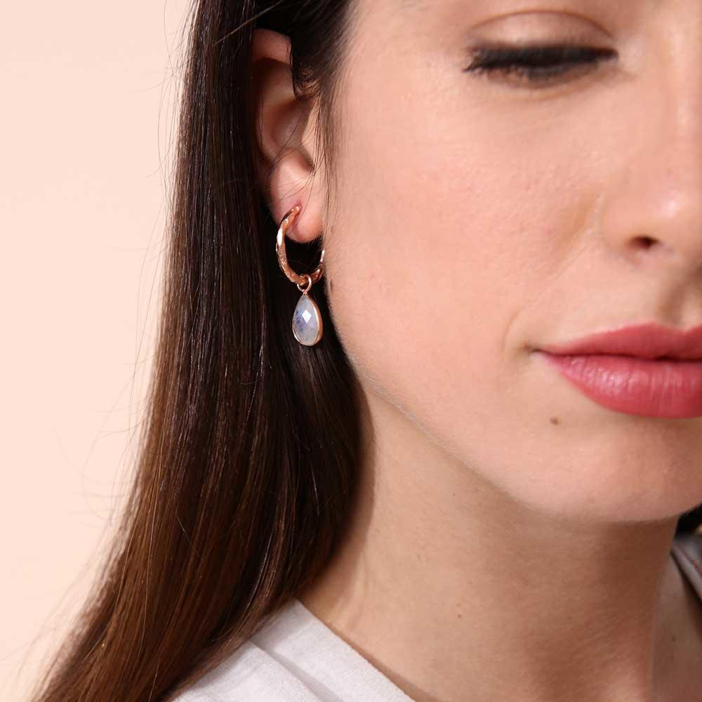 Azuni Earrings - Marina Hoops Gold Plate with Peach Moonstone