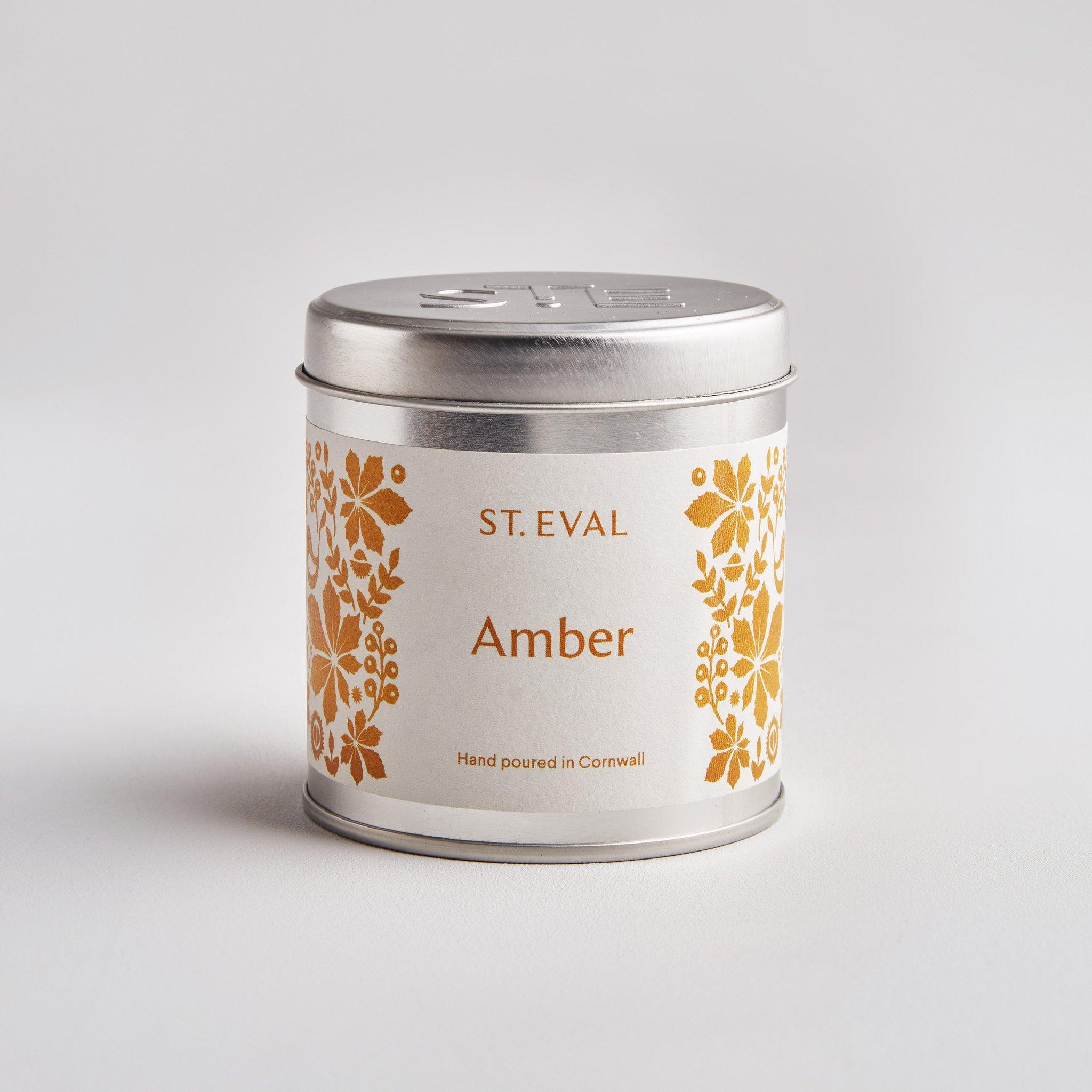 St Eval Folk Candle Tin - Amber