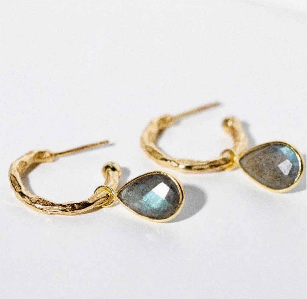 Azuni Earrings - Marina Hoops Gold Plate with Labradorite