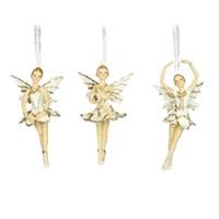 Gisela Graham Christmas Decoration Celestial - Ballerina Gold/Cream 12073