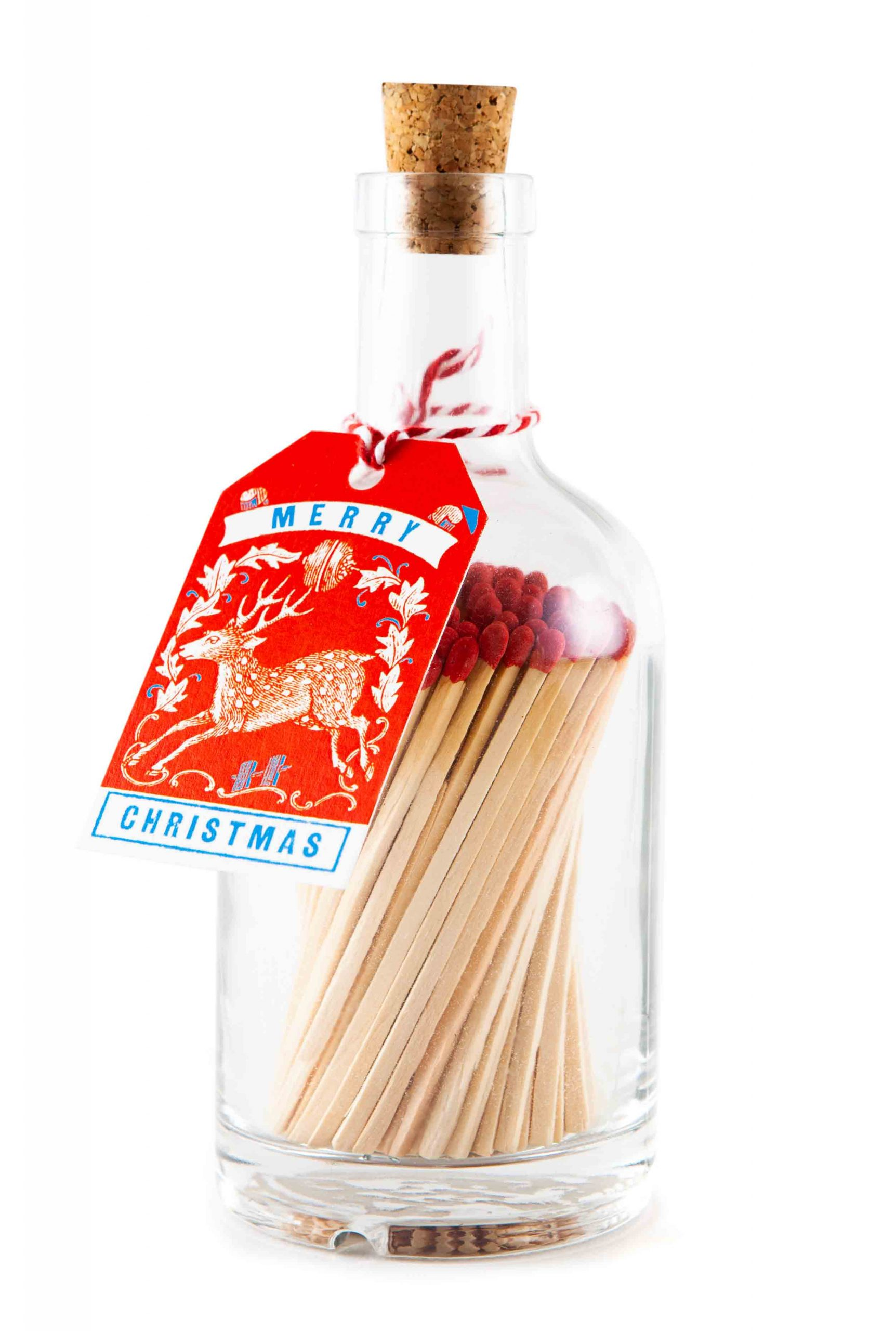 Christmas Matches in Glass Jar - Red Stag