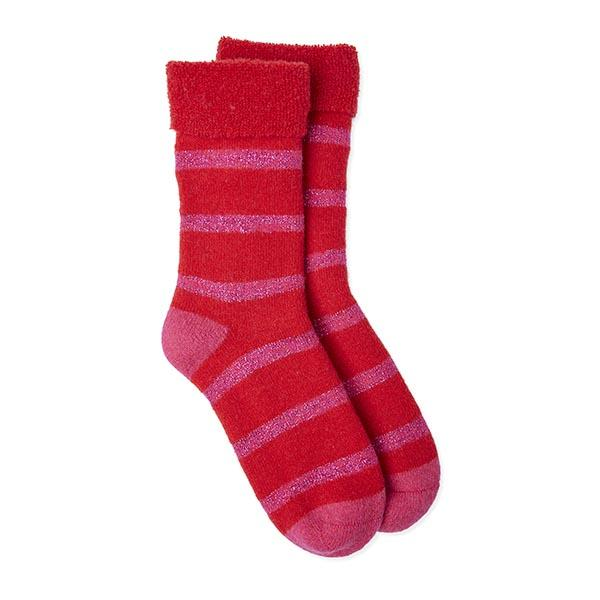 Somerville Slipper Socks - Glitter Stripe Red/Pink