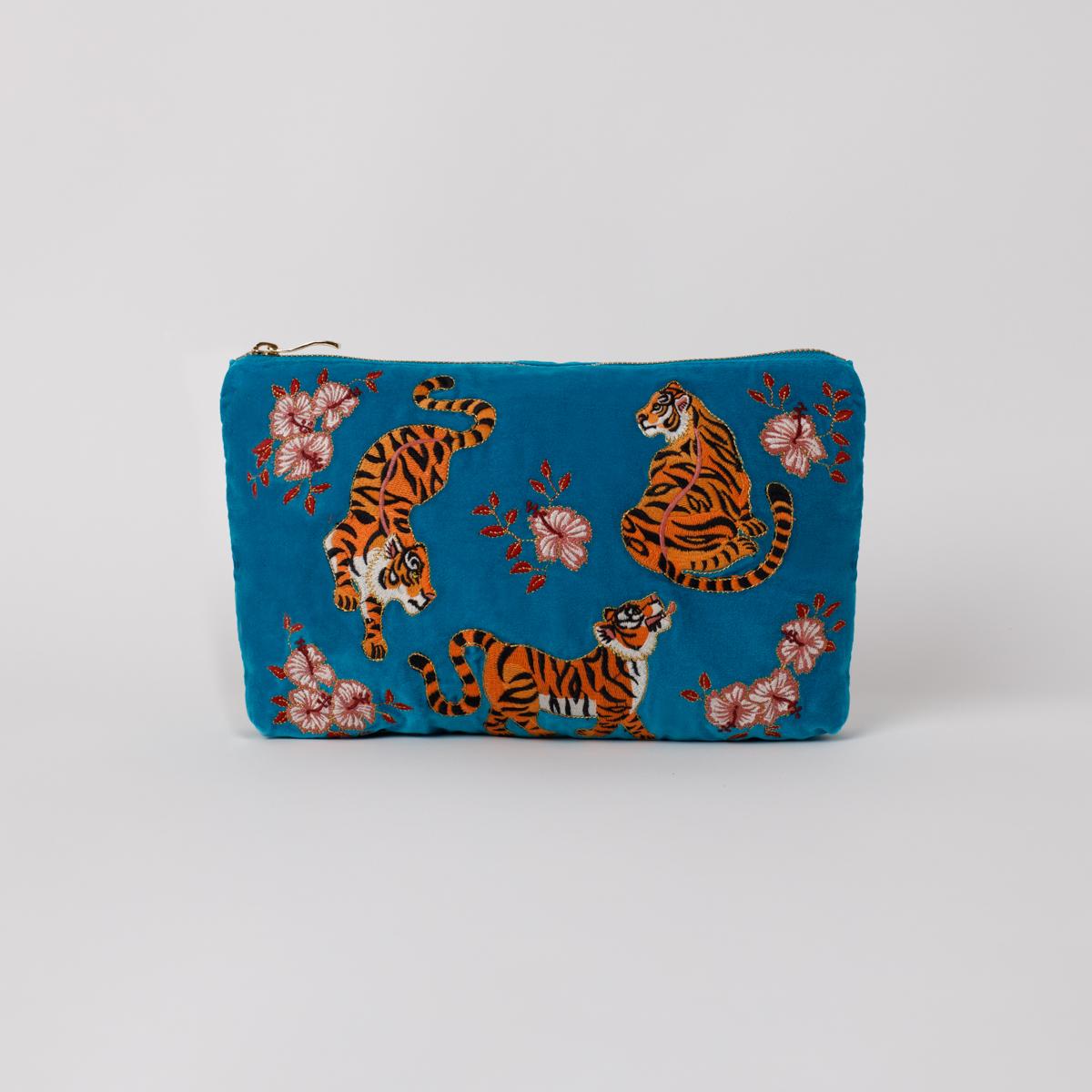 Elizabeth Scarlett - Travel Pouch Tiger Azure Velvet