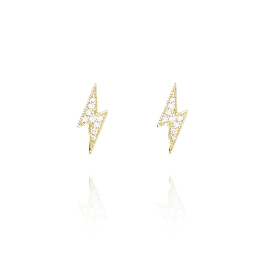 Stud Earrings Pave Lightening - Gold Plate on Sterling Silver EG-14/G