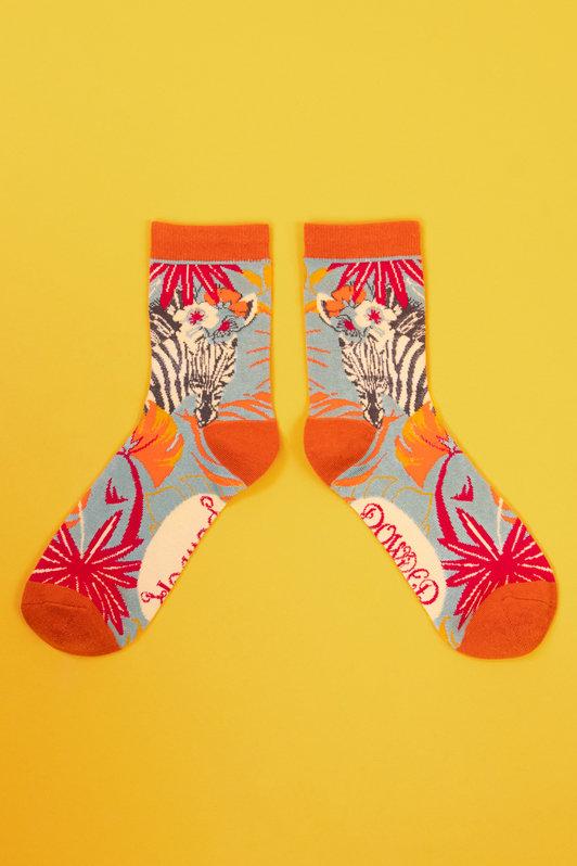 Powder Ankle Socks - Floral Zebra