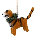 Gisela Graham Christmas Decoration Felt - Tiger with Wreath 17923