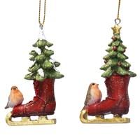 Gisela Graham Christmas Decoration Nostalgia - Skating Boot with Robin 17251