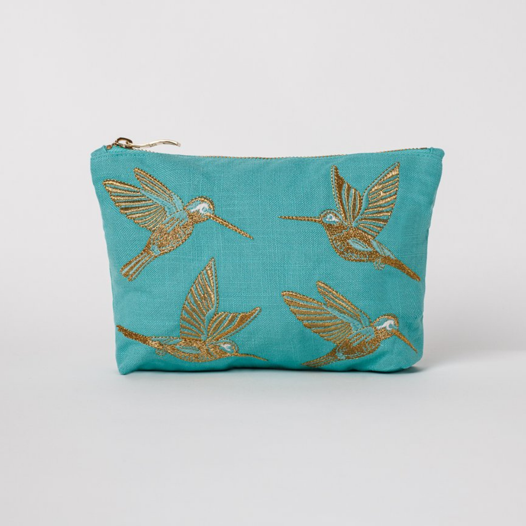 Elizabeth Scarlett - Travel Pouch Hummingbird Turquoise