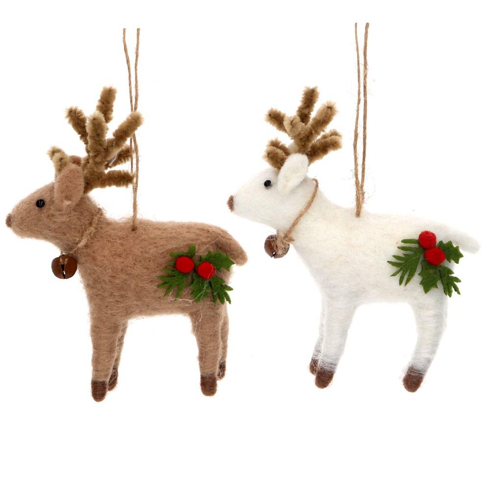 Gisela Graham Christmas Decoration Felt - Reindeer with Holly/ Bell 16760